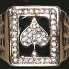 MENS ACE of SPADES Gambler HIP HOP BLING RING, Size 13, POKER, CASINO New