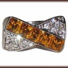 LADIES BLING RING CLEAR & CITRINE COLOR CZs Size 8 White Gold Plt New