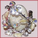 SILVER-WHITE & CRYSTAL FANTASY PARTY RING Size adjustable New