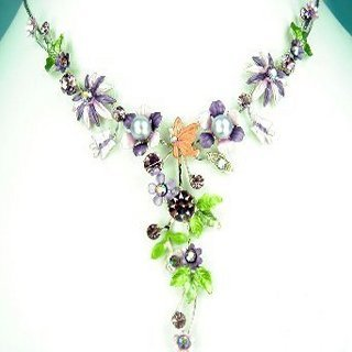 VERY PETITE NECKLACE EARRING SET CRYSTAL VIOLET FLORAL New