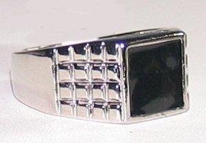 Mens Black Enamel & Silver Rhodium Ring Size 9 Classic New