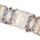 DECO CUFF Bracelet FAUX MOTHER of PEARL w/ CRYSTALS New
