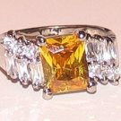 LADIES SIMULATED YELLOW CITRINE CZ RING Size 8.5 New