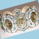 DECO Goth Panel Bangle BRACELET Chrome-look w/ Aqua Blue Austrian Crystals New