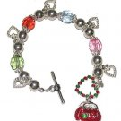 CHARM BRACELET Love Heart Purse Charms Shopping Red New