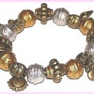 Vintage Metallic-Look Charm Bracelet Sun, Heart, Sea Shell Gold & Silver Plastic New