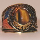 Cool Trucker Truck Driver RING Tiger's Eye stone Size 13 Trucking YGP New
