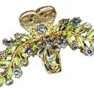 VINTAGE LOOK Gold tone HAIR CLAW CLAMP with LAVENDER BLUE CRYSTALS New