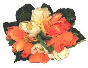 Silk Nosegay Bouquet Orange & Cream White Flowers Keepsake