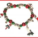 CHRISTMAS CHARM BRACELET CANDLE,WREATH,STOCKING CHARMS New