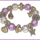 Victorian Charm Bracelet Metallic-look Lavender Teapot, Shell, Butterfly. Purse
