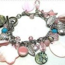 VINTAGE-LOOK CHARM BRACELET MOP SHELLS, HEARTS New