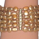 CASUAL BRACELET GOLD COLOR FAUX PEARLS STRANDS LIGHTWEIGHT