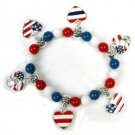 Patriot Hearts Charm Bracelet with Praying Hands Charms New