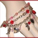HEARTS CHARM BRACELET Red,Pink,Silvertone CUPIDS ANGELS