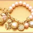 FRENCH DIVA CHARM BRACELET, Faux Pearls New Exquisite