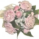 WEDDING or PROM HAND BOUQUET PINK & WHITE SILK FLOWERS