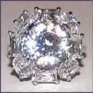 Ladies SPARKLING CLEAR CZ Dinner RING Size 7.5 WGP New