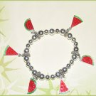 New Charm Bracelet with Petite Red Watermelon Slices Cute Summertime Charmer! New