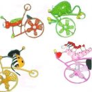 4 BUGS on BICYCLES School Locker or Kitchen Refrigerator MAGNETS