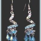 Exotic Chandelier Earrings Aqua Blue Czech Crystal w/ Gift Pouch New Fantasy