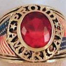 PROUD AMERICAN RING Tea Party Patriot Size 10 Dark RED CZ YGP New