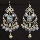 Exotic Chandelier Earrings Blue Cxech Crystal Filigreed w/ Gift Pouch New Fantasy