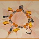 Charm Bracelet Shopping Orange Ring Lipstick Credit Card Shoe New