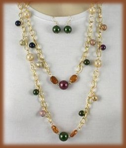 "HOT 54"" NECKLACE EARRING SET METALLIC-LOOK FAUX PEARLS New"