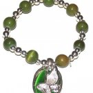 CHRISTIAN PRAYING HANDS CHARM BRACELET, GREEN BEADS