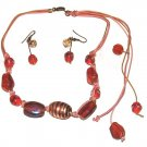ART GLASS FOIL EARTHY TUSCAN NECKLACE & EARRINGS SET New