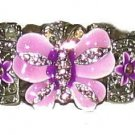 LAVENDER BUTTERFLY + CRYSTALS bangle CUFF BRACELET New