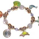 TROPICAL CHARM BRACELET SEA SHELL TURTLE STAR FISH New