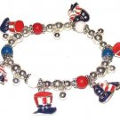 Patriotic Charm Bracelet Uncle Sam Hats New