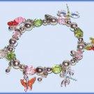 CHARM BRACELET BUTTERFLIES DRAGONFLIES COLORFUL STRETCH