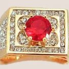 Bling Men's Ring Ruby Red Cubic Zirconium Size 12