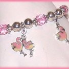 TROPICAL LIGHT PINK FLAMINGOS CHARM BRACELET New