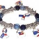 CHARM BRACELET Patriotic Purses, Hearts,Cause RIBBONS New