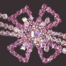 VICTORIAN LOOK HAIR BARRETTE PINK SWAROVSKI CRYSTALS New