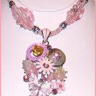 PINK DECO NECKLACE & EARRINGS SET Pendant STRANDS New