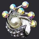 FANTASY PARTY RING FAUX PEARL + CRYSTALS Size Adjustable GIFT BOX