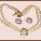 WEDDING WHITE FAUX PEARL NECKLACE EARRING SET New