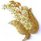 Brooch Pin Amber Color & Aurora Borealis Swarovski Crystals New