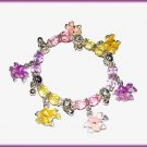 Teen Kids CHARM BRACELET COLORFUL PASTEL FLOWERS CASUAL STRETCH New