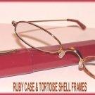 Slim Readers CLEAR GLASSES +1.5, Reading Glasses Red Case TORTOISESHELL FRAMES New