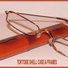 Slim Readers CLEAR Reading GLASSES +2.0, Reading Glasses TORTOISESHELL METAL FRAMES & CASE New