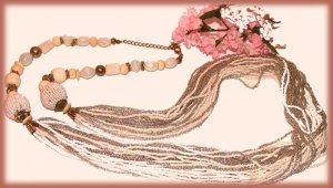 """Vintage Necklace 40"""" Ivory Color Beaded Movie Star Glamour Used"""