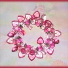 Pink Love Hearts Charm Bracelet Lucite Hearts & Beads