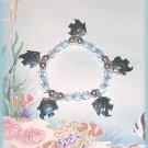 Tropical Charm Bracelet, Metallic Blue Fish Exotic Ocean Sea Gulf