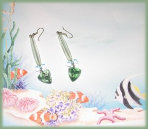 Chandelier EARRINGS CLEAR AQUA Green Blue OCEAN SEA COLORS New
